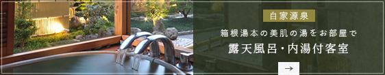 箱根湯本の美肌の湯をお部屋で 露天風呂・内湯付客室